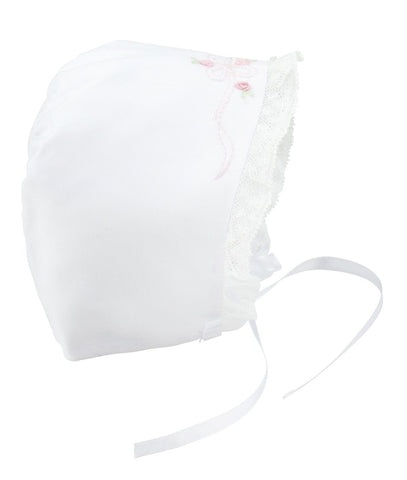 Feltman Brothers Girls White Lace Bow Baby Bonnet Newborn 0 3 M