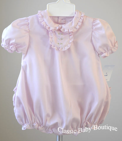 Petit Ami Pink Baby Girls Bubble Romper with Ruffle Bum Size 3 6 9 Months