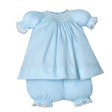 Remember Nguyen Blue Lace Smocked Girls Bishop Dress & Bloomers Newborn