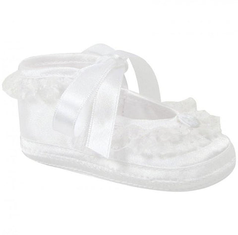 Baby Deer White Satin Lace Frilly Booties Crib Shoes Girls Preemie  & Newborn Size 00 Size 0