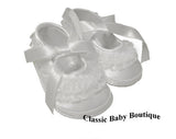 Baby Deer White Satin Lace Frilly Booties Crib Shoes Girls Preemie Size 00