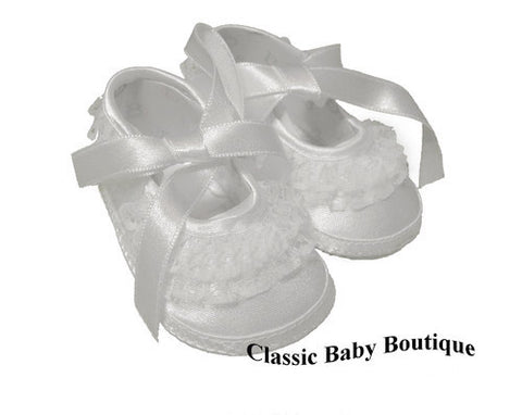 Baby Deer White Satin Lace Frilly