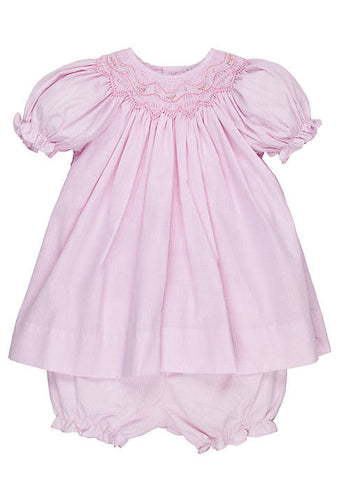 Petit Ami Girls Pink Gingham Smocked Bishop 2pc Dress 3 6 9 Months