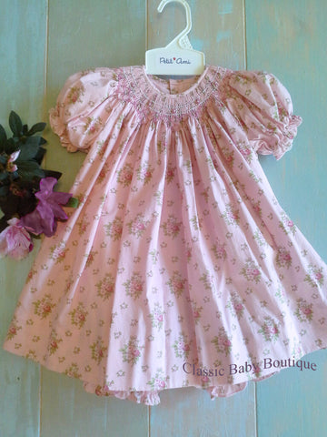 Petit Ami Vintage Inspired Floral Print Rose Smocked Bishop Dress & Bloomers 12 18 24 Months