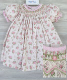 Petit Ami Cream Vintage Floral Print Rose Smocked Bishop Dress & Bloomers 3 6 9 12 18 24 Months
