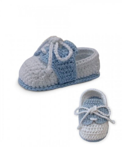 Jefferies Socks White & Blue Crochet Oxfords Baby Booties Boys Shoes Size 0 Newborn