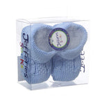 Jefferies Socks Blue Cable Hand Crochet Knit Baby Booties Boys Shoes Size 0 Newborn
