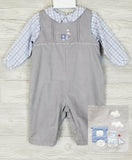 Petit Ami Boys Gray Corduroy Train Longall Romper & Dress Shirt 3 6 9 12 18 24 Months