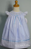 Will'beth Girls White Blue Smocked Bishop Angel Wing Ribbon Dress with Slip 12 18 24 Months