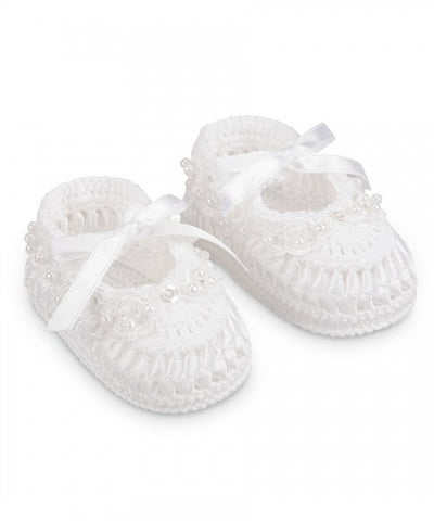 Jefferies Socks White Crochet Satin Ribbon Pearl Baby Booties Girls Shoes Size 0 Newborn