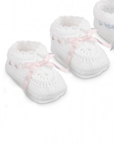 Jefferies Socks White Crochet Pink Satin Ribbon Baby Booties Girls Shoes Size 0 Newborn