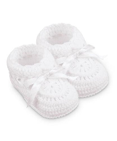 Solid White Crochet Satin Ribbon Baby Booties Boys Girls Shoes Size 0 Newborn