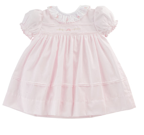 Freidknit Creations by Feltman Bros Girls Pink Vintage Scalloped Rose Dress with Sash 12 18 24 Months