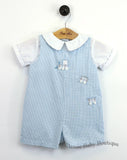 Petit Ami Boys Blue Gingham Train Jon Jon Romper 3 6 9 months