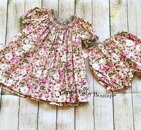 Petit Ami Smocked Bishop Floral Girls 100% Cotton Dress & bloomers 12 18 24 Months