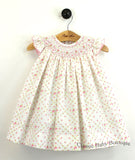 Petit Ami Cream English Garden Rose Smocked Bishop Angel Wing 2pc Dress Girls 12 18 24 Months