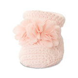 Baby Deer Pink Shimmer Chiffon Flower Crochet Knit Baby Booties Girls Shoes Newborn 0-3 Months