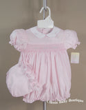 Petit Ami Girls Pink Smocked Bubble Romper 3 6 9 Months with Bonnet