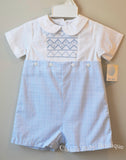 Petit Ami Boys White & Blue Smocked Bobby Suit Romper 3 6 9 12 18 24 Months