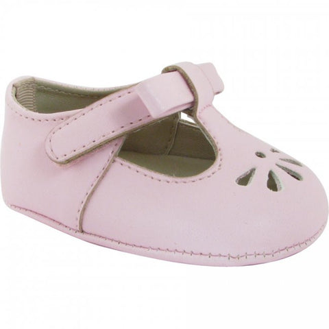 Baby Deer Pink Faux Leather Bow T-Strap