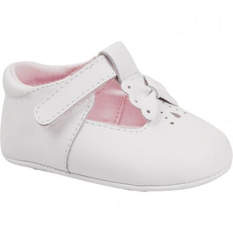 Baby Deer White Leather T-Strap Bow Booties Crib Shoes Girls Newborn 3 6 9 Months Size 0 Size 1