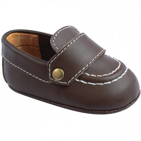 Baby Deer Brown Leather Deck Crib Shoes Boys Size 1 to 3 Months Loafer w/ Monogrammable Strip