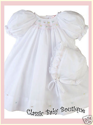 Petit Ami Girls White Multi Smocked 2 Piece Bishop Daygown Newborn