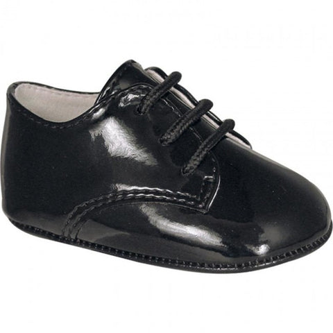 Baby Deer Black Patent Dress Oxford Crib Shoes Boys Newborn 3 Months Size 0