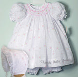 Petit Ami White Floral Overlay Smocked Girls Bishop 3 piece Dress Newborn