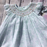 Petit Ami White Mint Smocked Bishop Angel Wing 2pc Dress Girls Newborn 12 18 24 Months