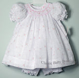 Petit Ami White Floral Overlay Smocked Girls Bishop Dress 12 18 24 Months