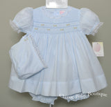 Petit Ami Blue Smocked Lace Dress Bonnet & Bloomers 3pc Newborn Baby Girls