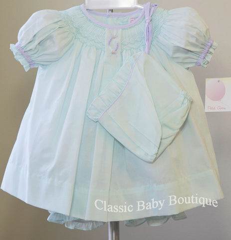 Petit Ami Girls Mint Green Lavender Smocked Bishop 3pc Dress Newborn