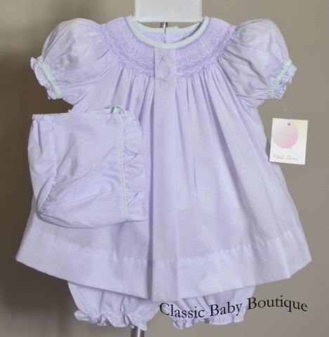 Petit Ami Lavender Smocked Bishop 3pc Dress Newborn Baby Girls