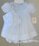 Petit Ami Girls Blue Smocked Pearl Bishop Dress with Bonnet & Bloomers Newborn
