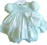 Petit Ami Girls Mint Green Lace Smocked Bishop 3pc Dress Newborn with bloomers