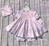 Petit Ami Girls Pink Lace Smocked Bishop 3pc Dress Newborn with bloomers