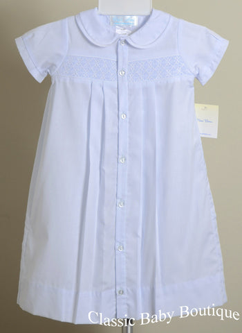 Petit Ami Blue Smocked Classic Batiste Daygown Newborn Baby Boys