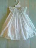 Petit Ami White Mint Smocked Bishop Angel Wing 2pc Dress Girls 12 18 24 Months