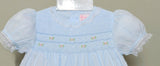 Petit Ami Girls Blue Smocked Lace Dress & Bloomers 12 18 24 Months