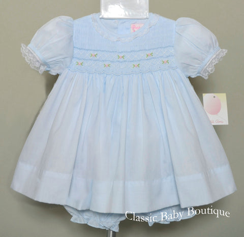 Petit Ami Girls Blue Smocked Lace Dress & Bloomers 3 6 9 Months