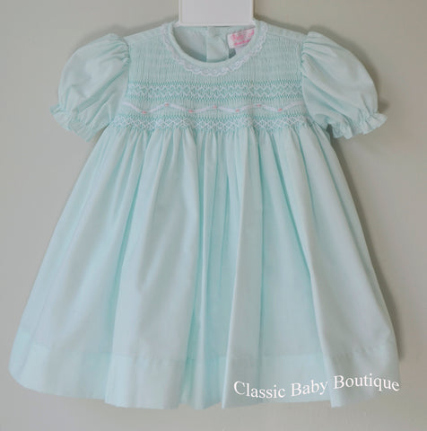 Petit Ami Girls Mint Green Lace Smocked Dress with bloomers 3 6 9 12 18 24 Months