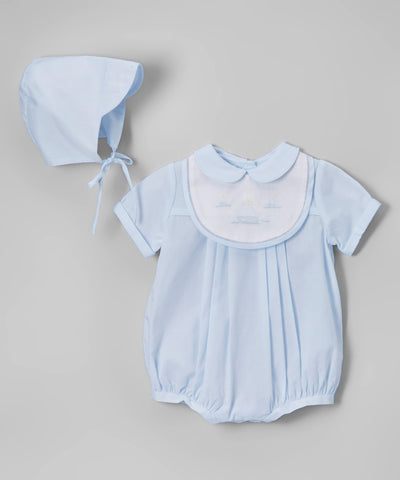 Petit Ami Boys Blue Sailboat Romper with Bib & Hat Newborn Preemie