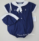 Petit Ami Boys Navy & White Sailor Bubble Romper & Hat Newborn