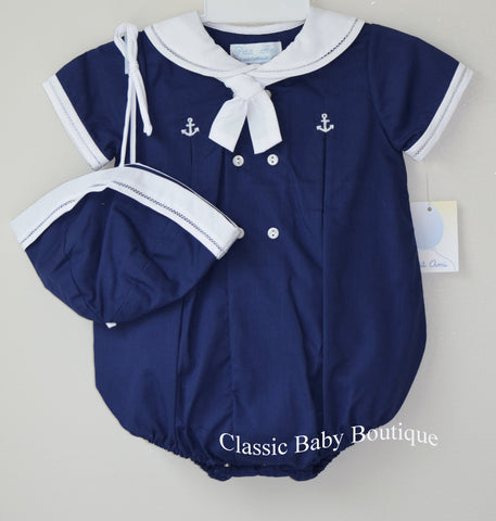 Petit Ami Boys Navy & White Sailor Bubble Romper & Hat Newborn 3 6 9 Months