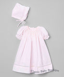 Petit Ami Girls Pink Voile Smocked Bishop Dress with Bonnet Preemie & Newborn