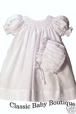 Petit Ami Girls White Bishop Smocked 2pc Baby Dress Daygown Christening Preemie Newborn