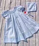 Petit Ami Girls Blue Bishop Smocked Daygown 2pc Dress Newborn