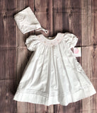 Petit Ami Girls White Pink Bishop Smocked Daygown Dress with Bonnet Newborn