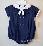 Petit Ami Boys Navy & White Sailor Bubble Romper Creeper 12 18 24 Months